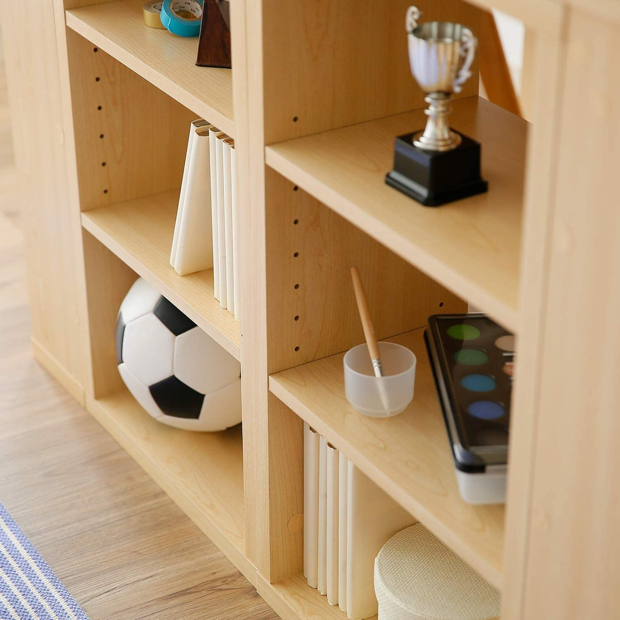 LOWYA(ロウヤ) 学習机 2人用ツインデスク 本棚・サイドラック付きの商品画像9