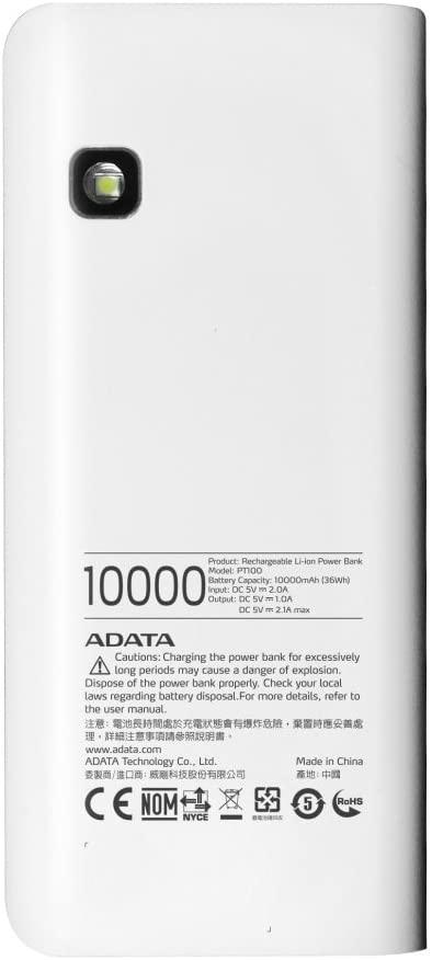 ADATA(エイデータ) PT100 パワーバンク APT100-10000M-5V-CWHBLの商品画像3
