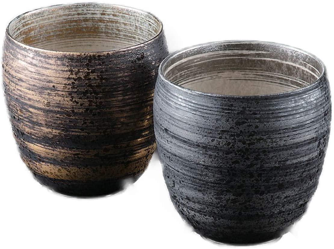 陶悦窯 ペア焼酎カップ  370cc 金銀刷毛の商品画像