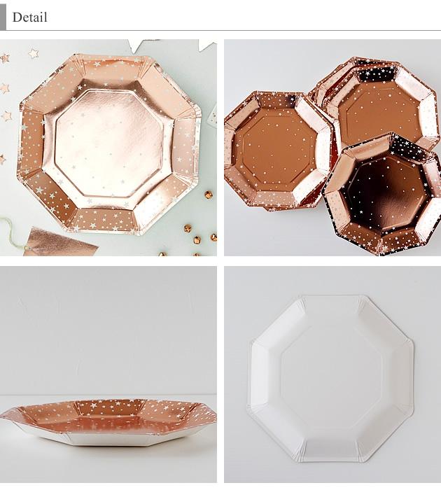 GingerRay(ジンジャーレイ) ローズゴールドスター紙皿 23cm 8枚の商品画像2