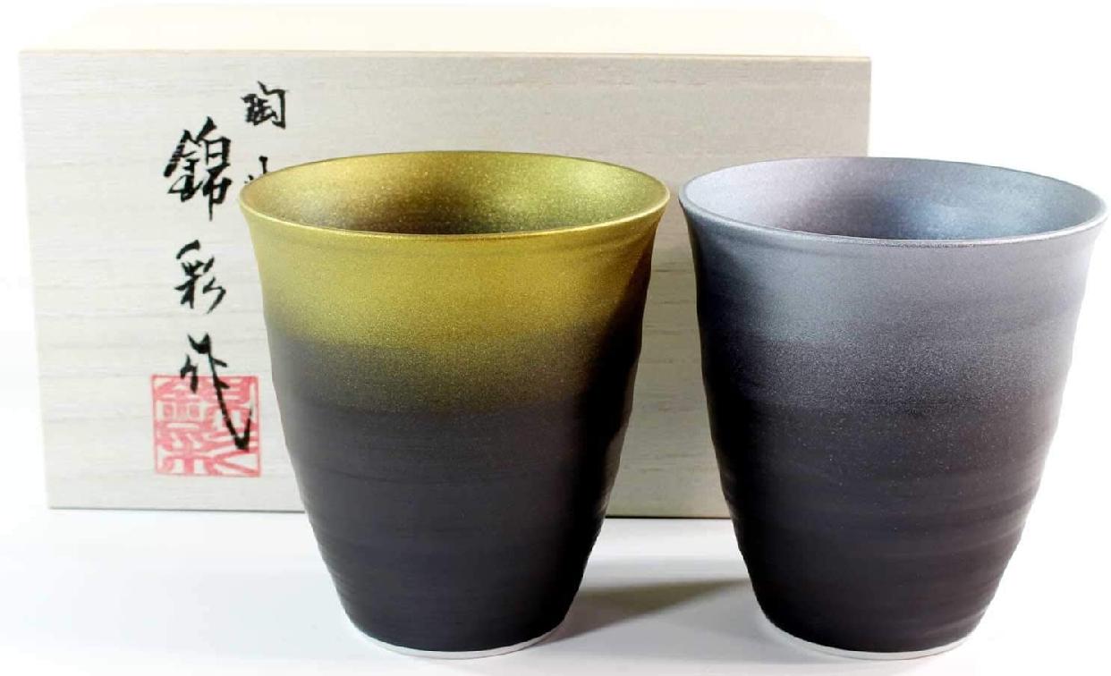 藤井錦彩窯(ふじいきんさい)窯変金プラチナ彩焼酎カップペアセットの商品画像