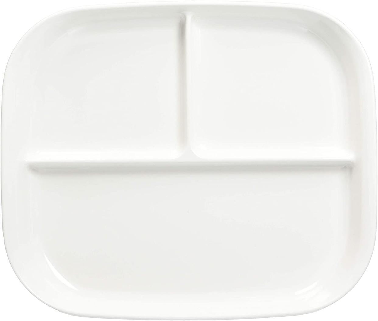 パール金属(パールキンゾク)あつかいやすい仕切付スクエアプレート(ホワイト) K-6388の商品画像