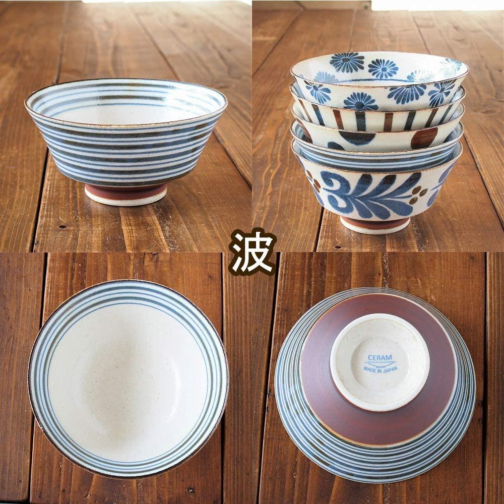 みのる陶器 南風(ぱいかじ)反型ラーメン 5柄セット 18cmの商品画像8