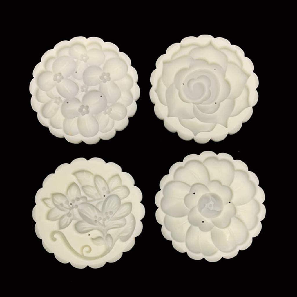 ブルーダースト 125gムーンケーキ型4スタンプ花の装飾DIYハンドプレスビスケットペストリー型 ホワイトの商品画像5
