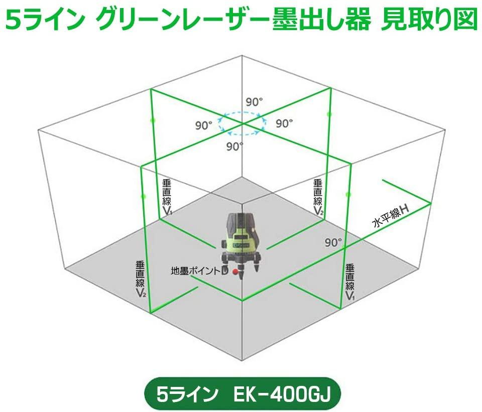 FUKUDA(フクダ) 5ライン グリーンレーザー墨出し器 EK-400GJの商品画像7