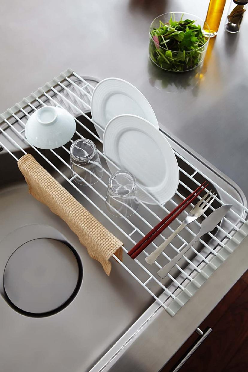 山崎実業(Yamazaki) 折り畳み水切りラック プレート L 7846 ホワイトの商品画像4