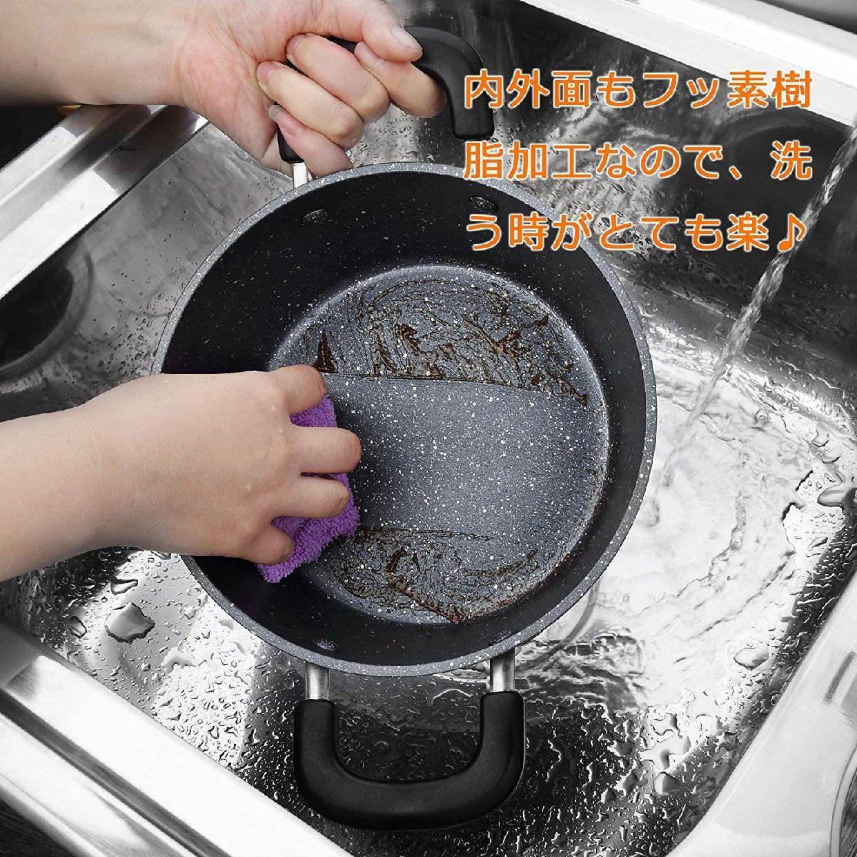 COOKSMARK(クックスマーク) 両手鍋ガラス鍋蓋付 20cm ブラック H-4237の商品画像6