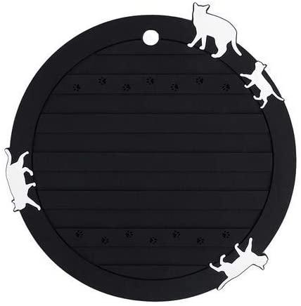 大西賢製販 ネコ シリコン鍋敷き 丸型 BLACK ASC-1402の商品画像