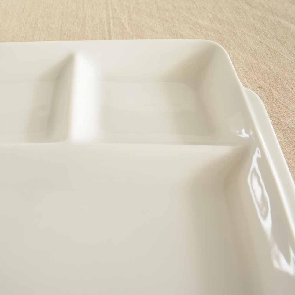 大和陶器(ヤマトトウキ)軽量うすかる 持ち手付き スクエアランチプレート 白の商品画像4