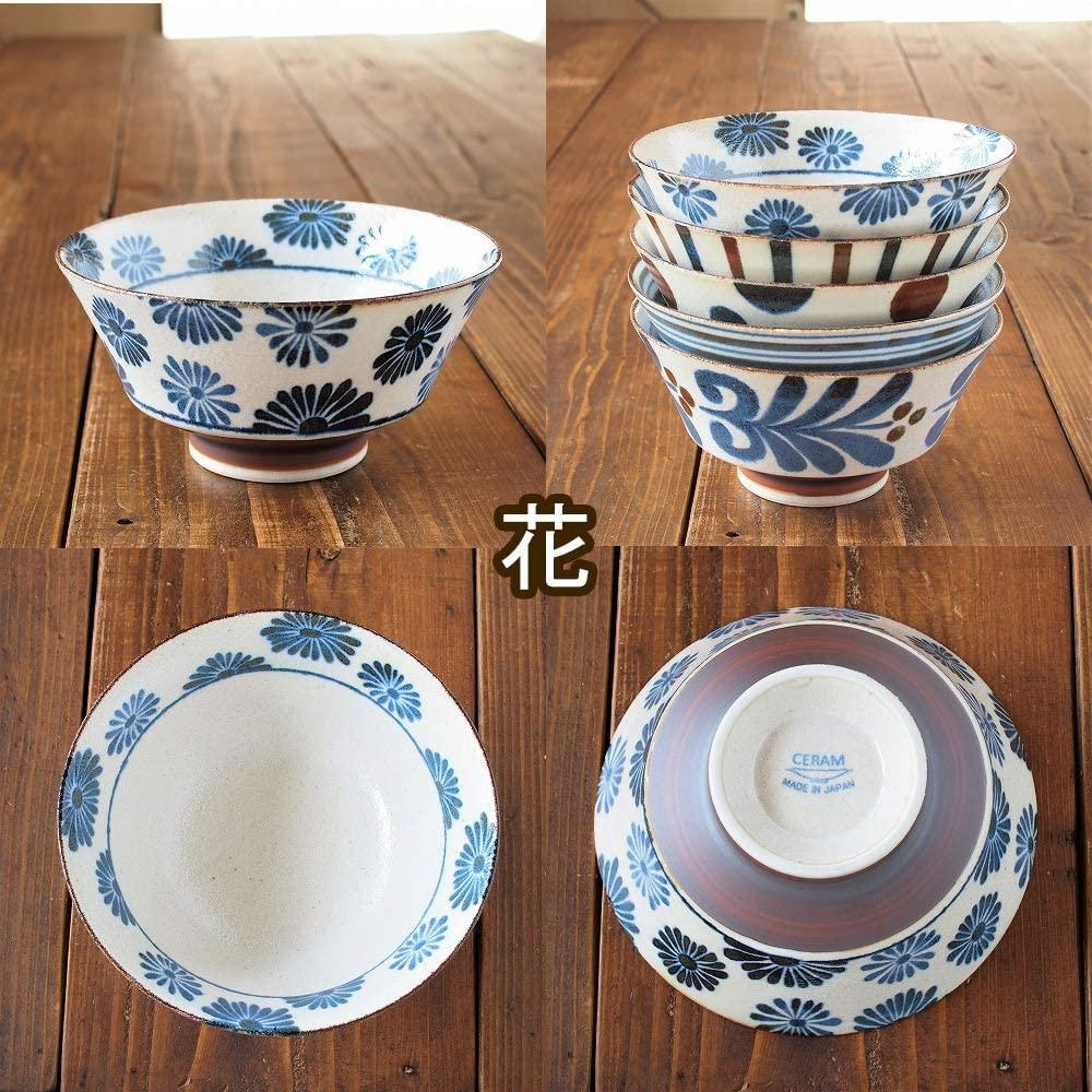 みのる陶器 南風(ぱいかじ)反型ラーメン 5柄セット 18cmの商品画像5
