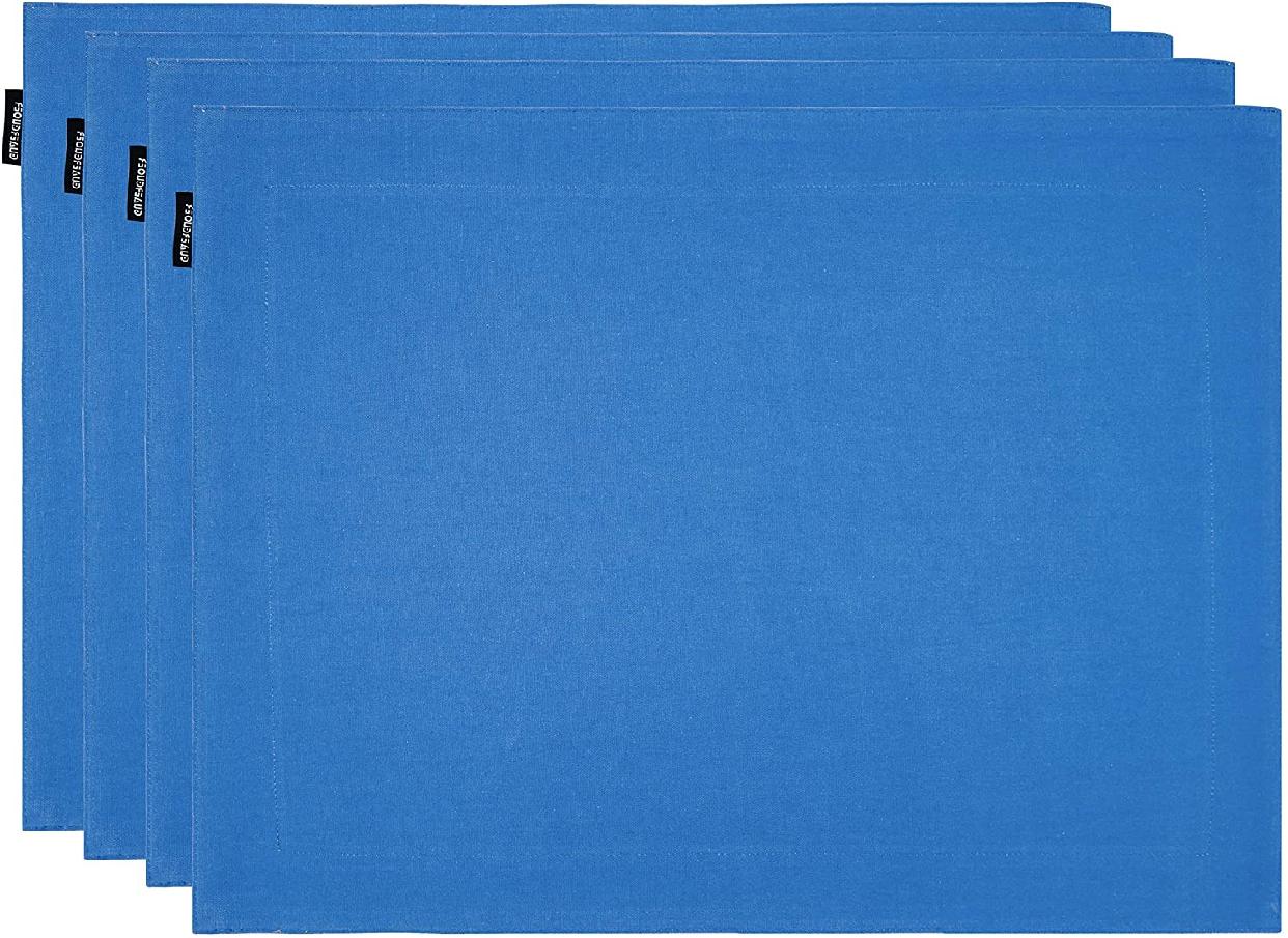 GUAERGUOER(ジーオーイーアールジーユーオーイアー)コットンプレースマット-4枚 B1アクアブルー+白)の商品画像