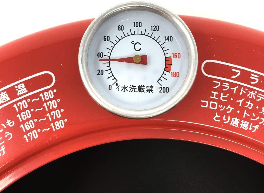 中央産業(チュウオウサンギョウ)温度計付天ぷら鍋 揚げま専科 レッド 24cmの商品画像3