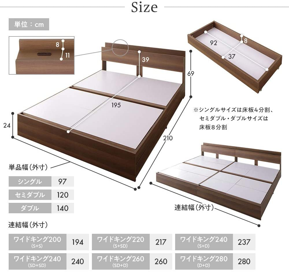 BEST VALUE STYLE(ベストバリュースタイル) 引き出し収納ベッド 連結 Serestの商品画像7