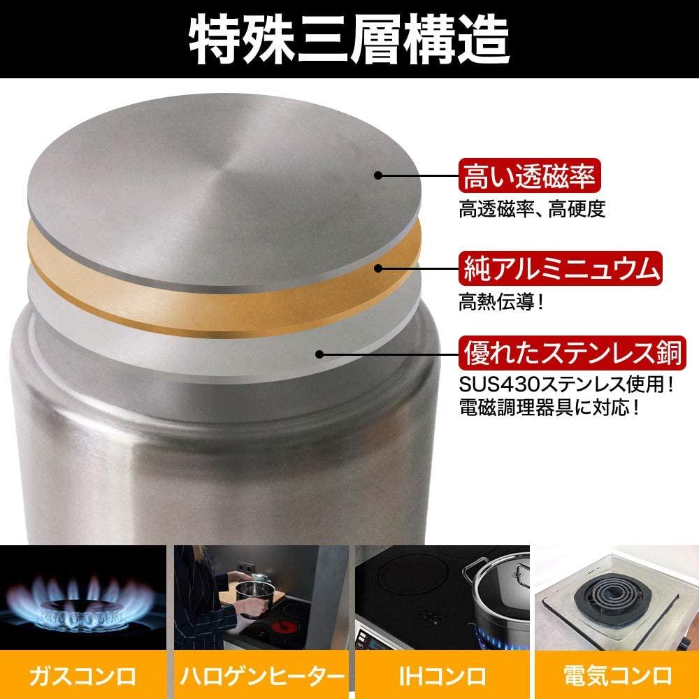 SUGGEST(サジェスト) 寸胴鍋 IH対応 ステンレス製  12Lの商品画像5