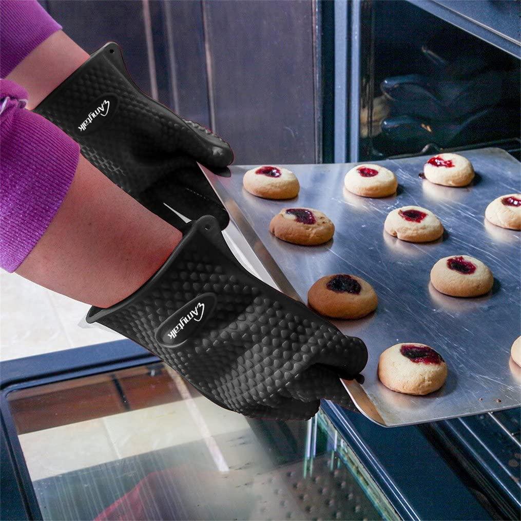 AmyTalk(アミートーク) 耐熱シリコン手袋 5本指キッチン手袋 (ブラック)の商品画像3