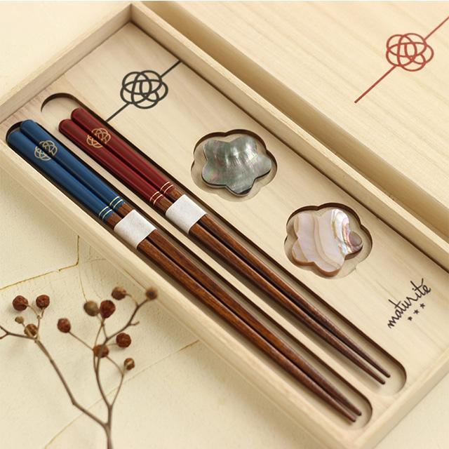 Maturite(マチュリテ) 梅結び 夫婦箸&箸置きセット 赤・青 0059UMB001の商品画像6