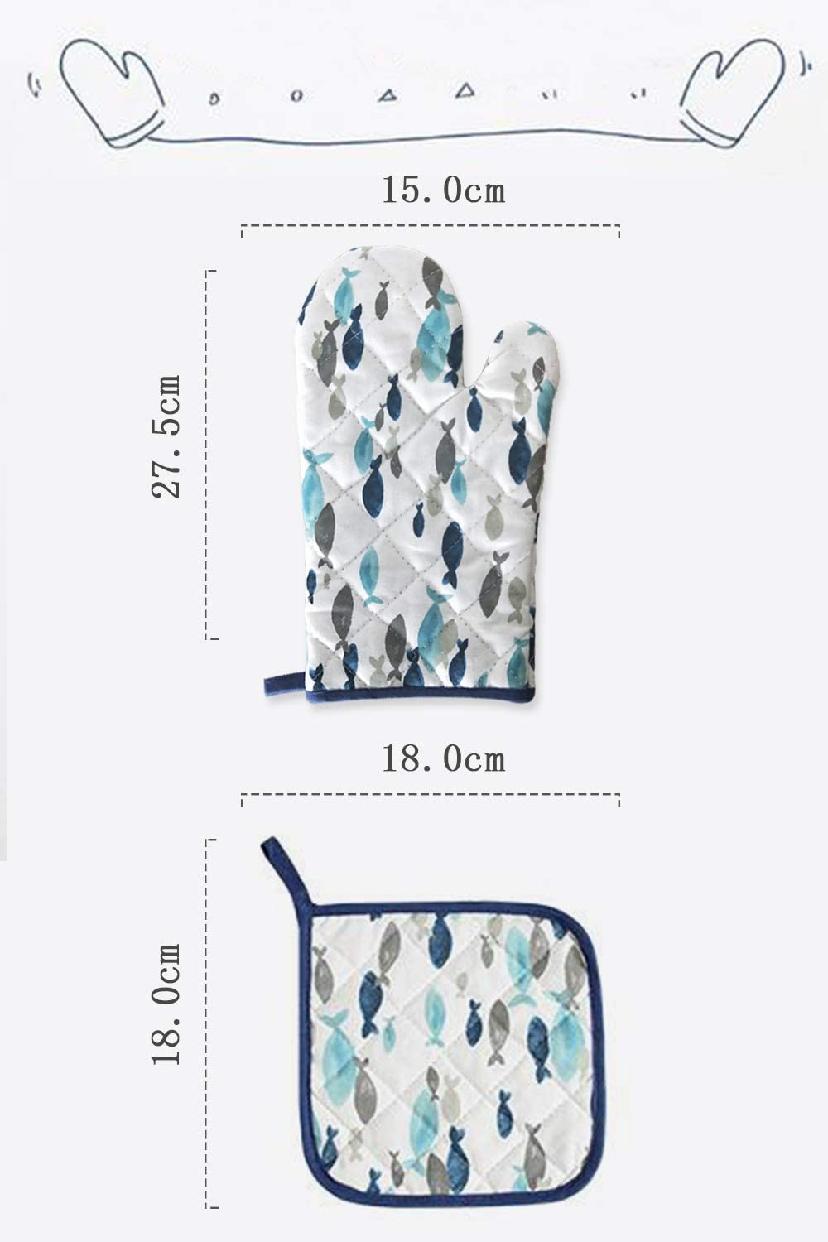 careme(カレーム) 耐熱鍋つかみ 耐熱ミトン 北欧デザイン (柄1)ホワイト×ブルーの商品画像7