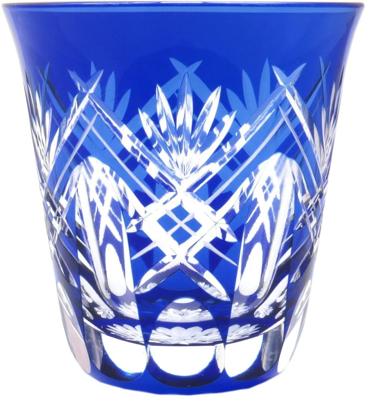 すみだ江戸切子館(すみだえどきりこかん)焼酎グラス (化粧箱入) 重ね剣矢来 (藍) KY-44の商品画像