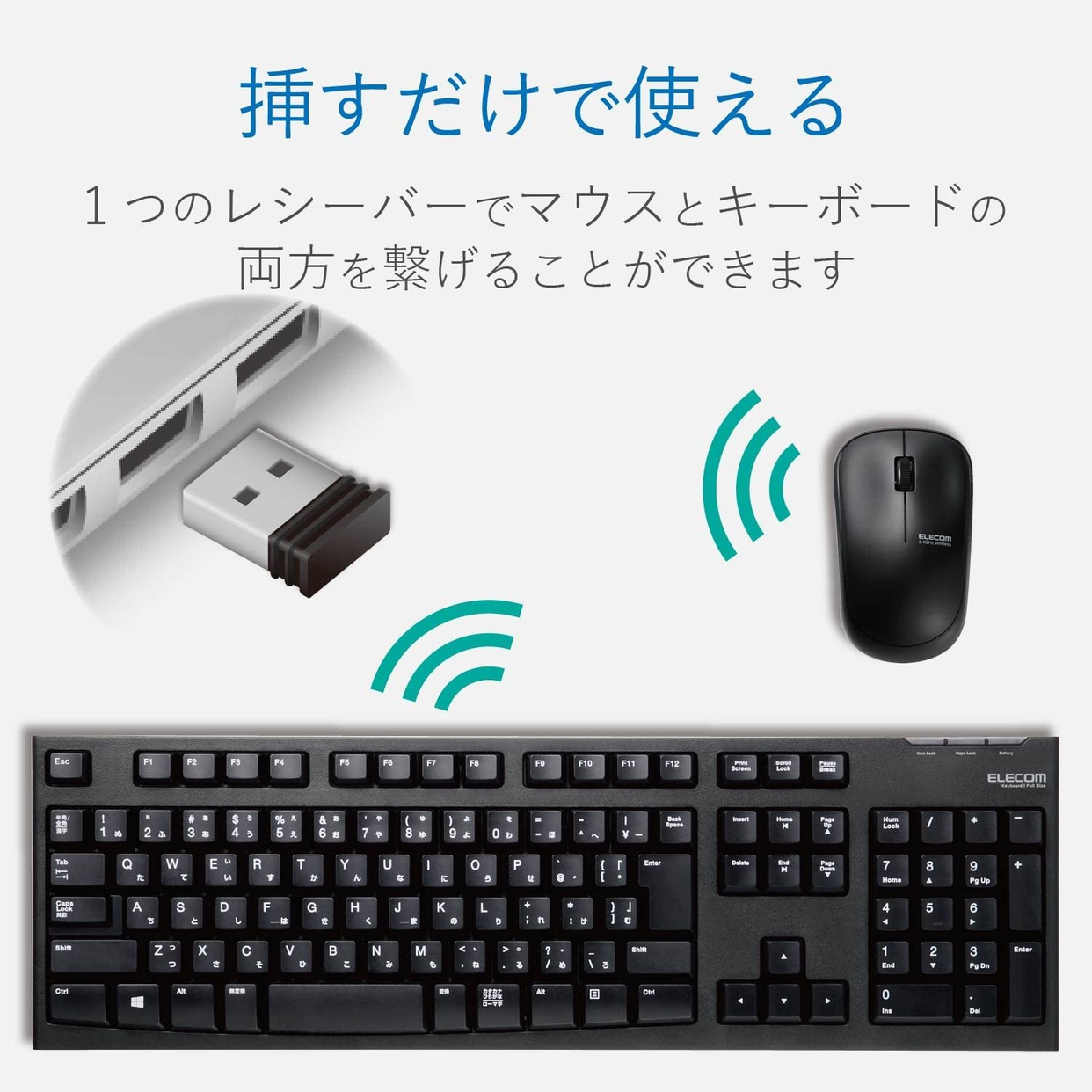 ELECOM(エレコム) ワイヤレスフルキーボード&マウス TK-FDM063BKの商品画像3