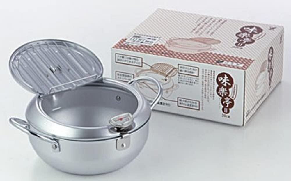 YOSHIKAWA(ヨシカワ) 味楽亭II  フタ付き天ぷら鍋20cm(温度計付) シルバー SJ1024の商品画像2
