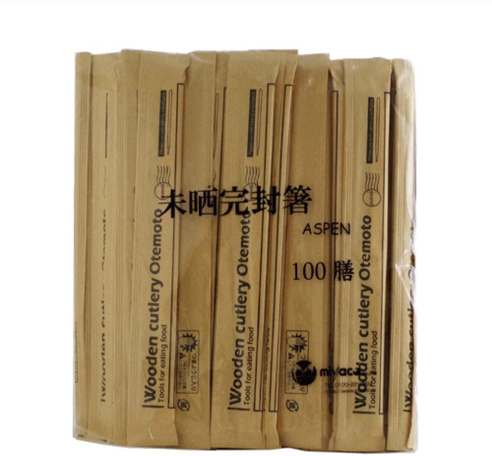 miyao(ミヤコ)未晒完封箸アスペン8寸楊枝入 100膳 24cmの商品画像