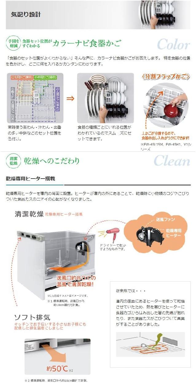 三菱電機(MITSUBISHI ELECTRIC) EW-45R2S (ビルトイン食器洗い乾燥機)の商品画像4