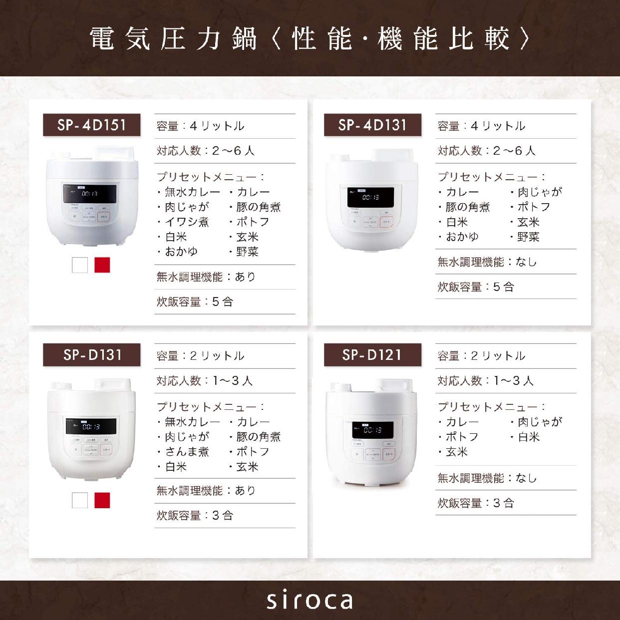 siroca(シロカ) 電気圧力鍋 SP-D131 ホワイトの商品画像3