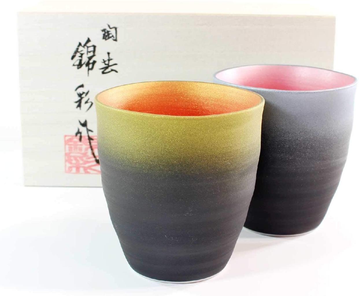 藤井錦彩窯 窯変金プラチナ彩波渕焼酎カップペアセットの商品画像