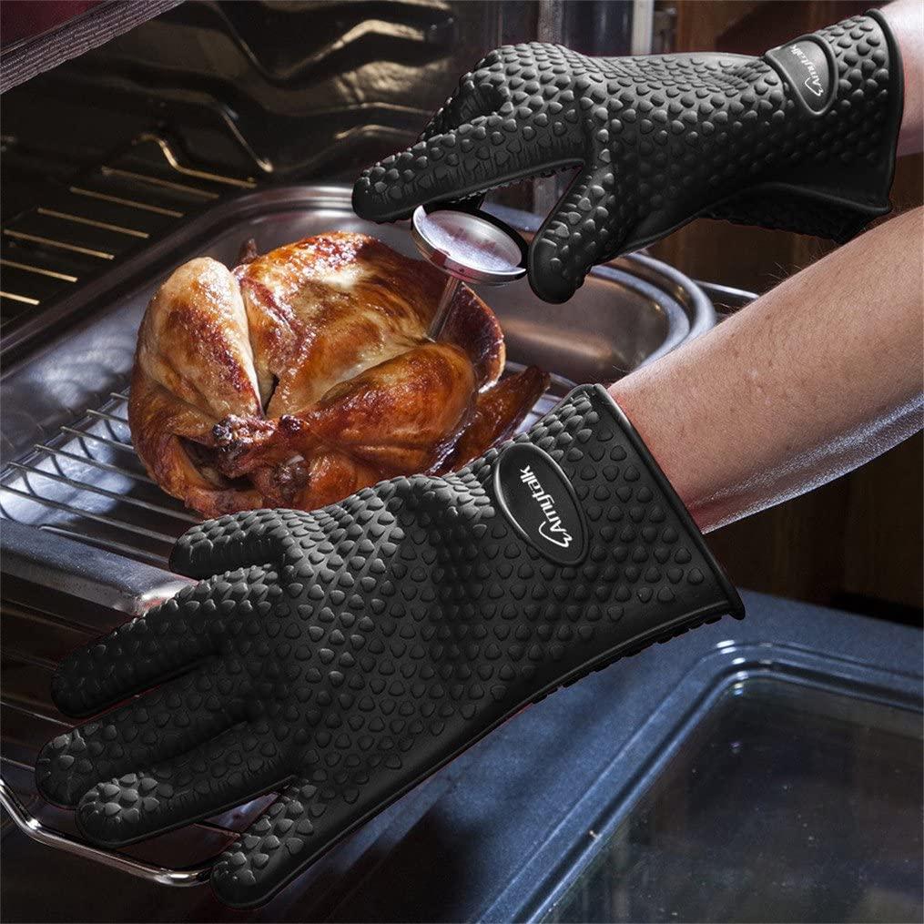 AmyTalk(アミートーク) 耐熱シリコン手袋 5本指キッチン手袋 (ブラック)の商品画像2