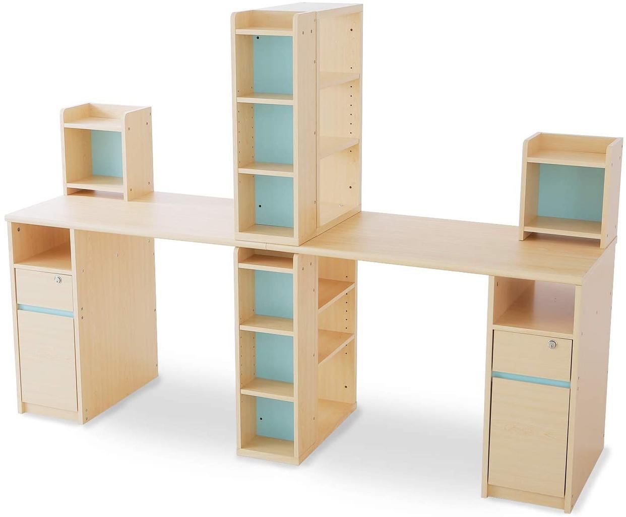 LOWYA(ロウヤ) 学習机 2人用ツインデスク 本棚・サイドラック付きの商品画像