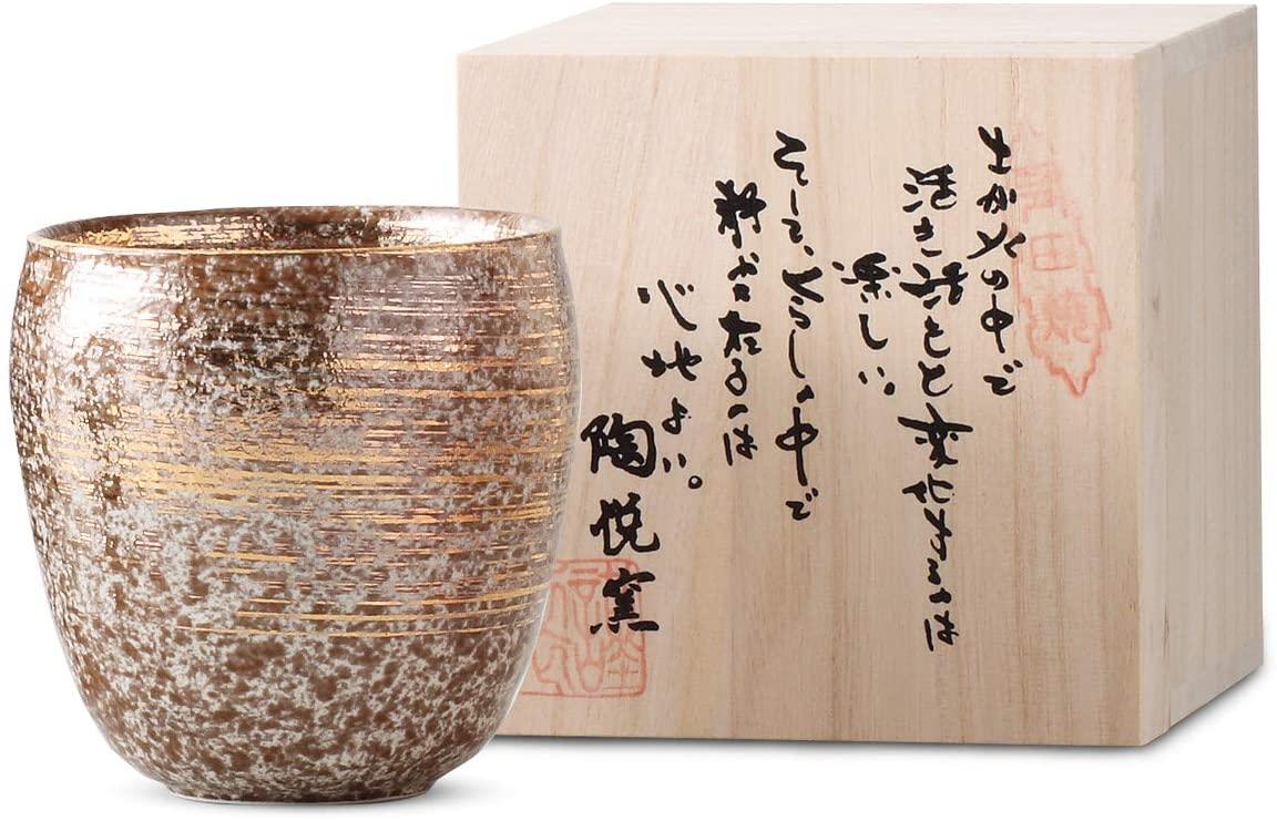 陶悦窯 焼酎カップ  370cc 雅刷毛(金)の商品画像