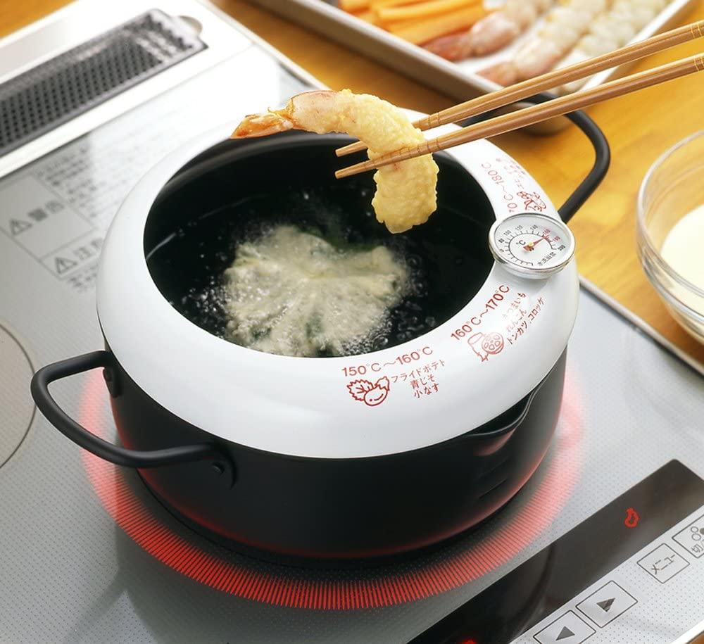 YOSHIKAWA(ヨシカワ) あげた亭 温度計付き天ぷら鍋20cm ブラック SH9257の商品画像6
