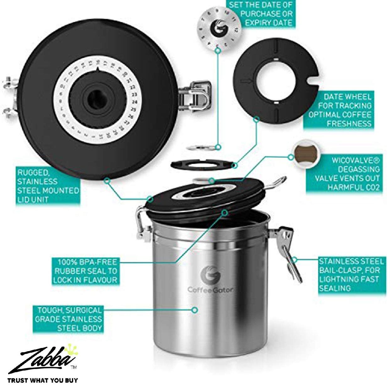 Coffee Gator(コーヒーゲーター) ステンレススチール コーヒーキャニスター 2-packの商品画像5