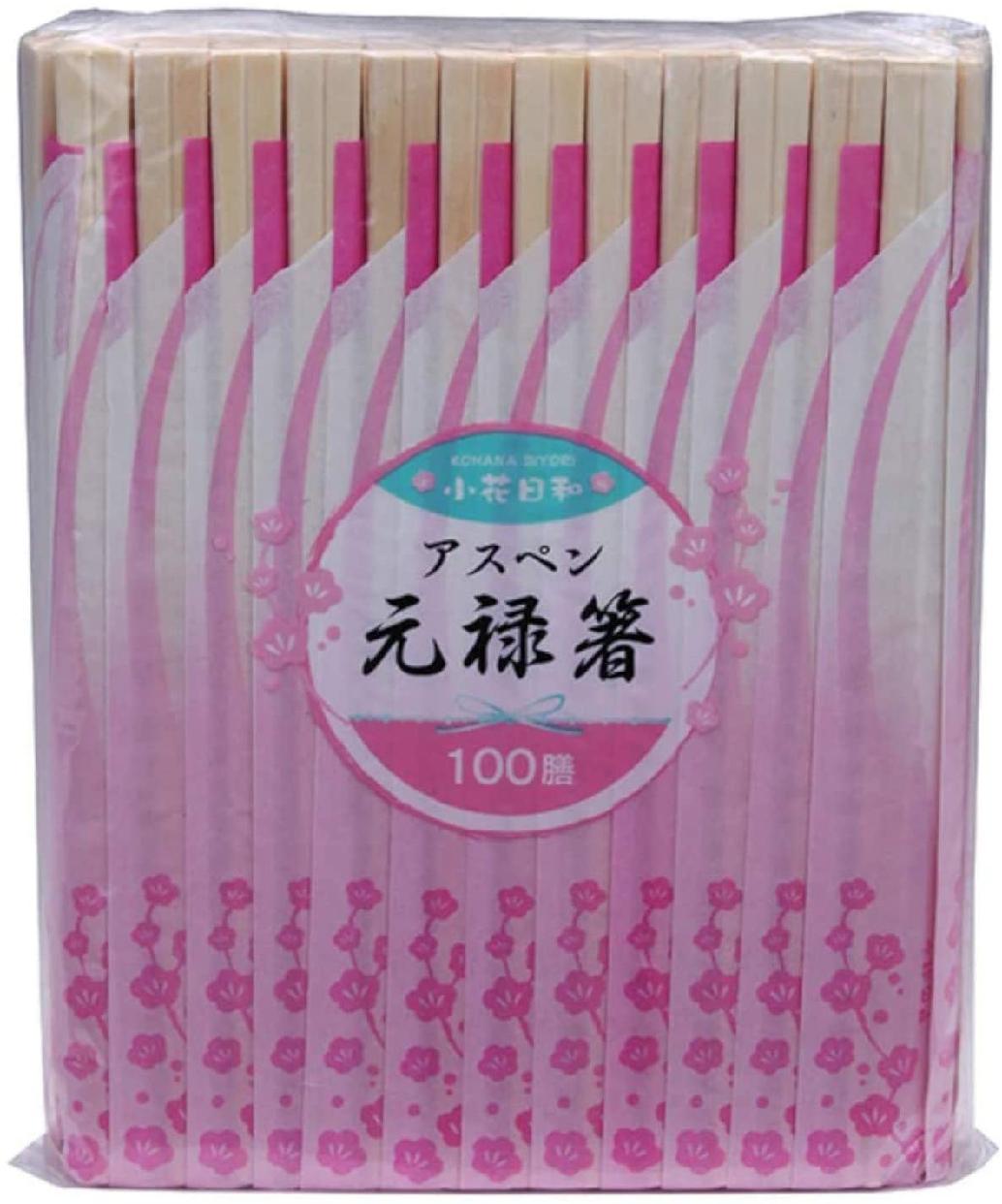 小花日和(こはなびより)アスペン元禄箸 100膳 20.3cmの商品画像
