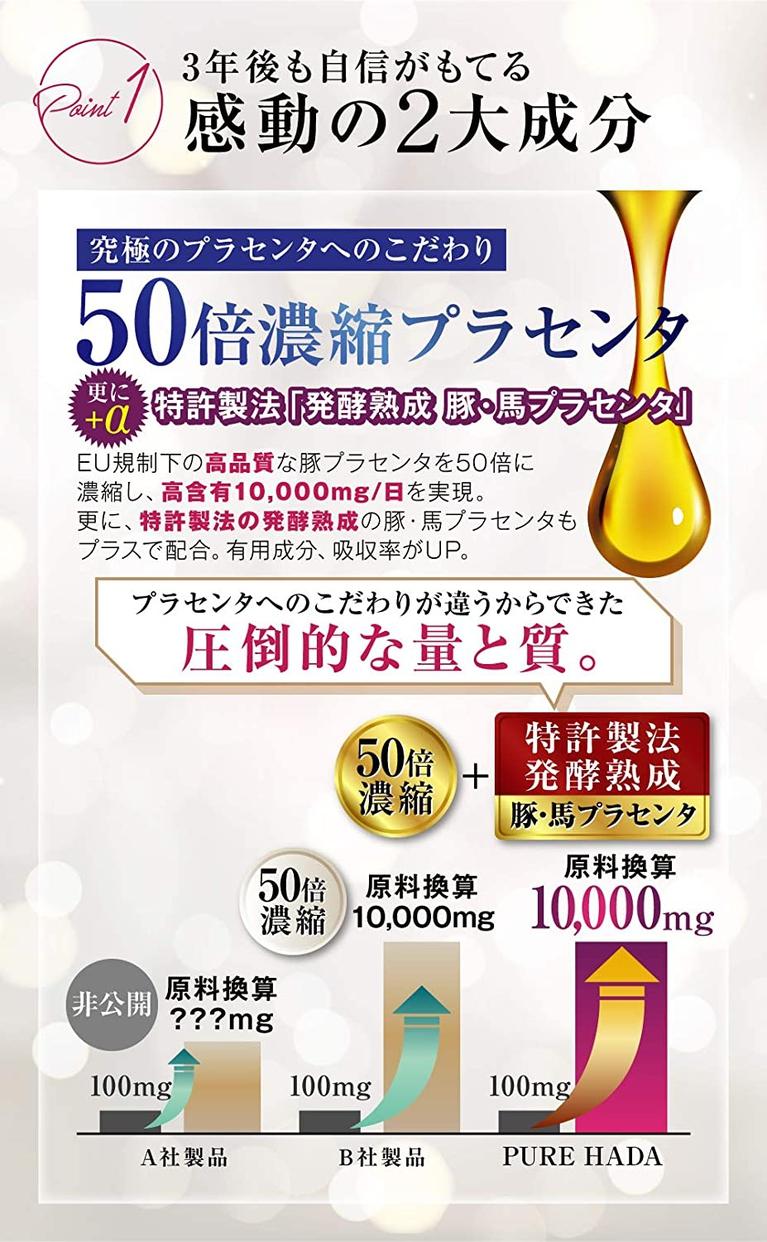 PURE HADA(ピュアハダ) 50倍濃縮 プラセンタの商品画像3