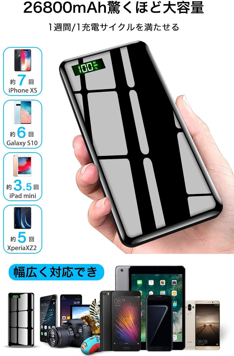 DeliToo 26800mAh超大容量モバイルバッテリー T-05の商品画像5