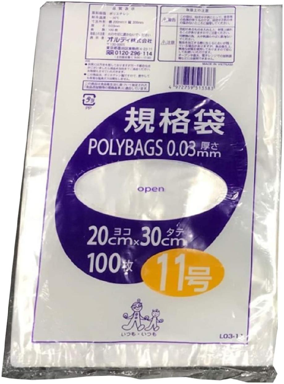 ORDIY(オルディ) ポリバッグ 規格袋 11号 0.03mm 透明 L03-11の商品画像