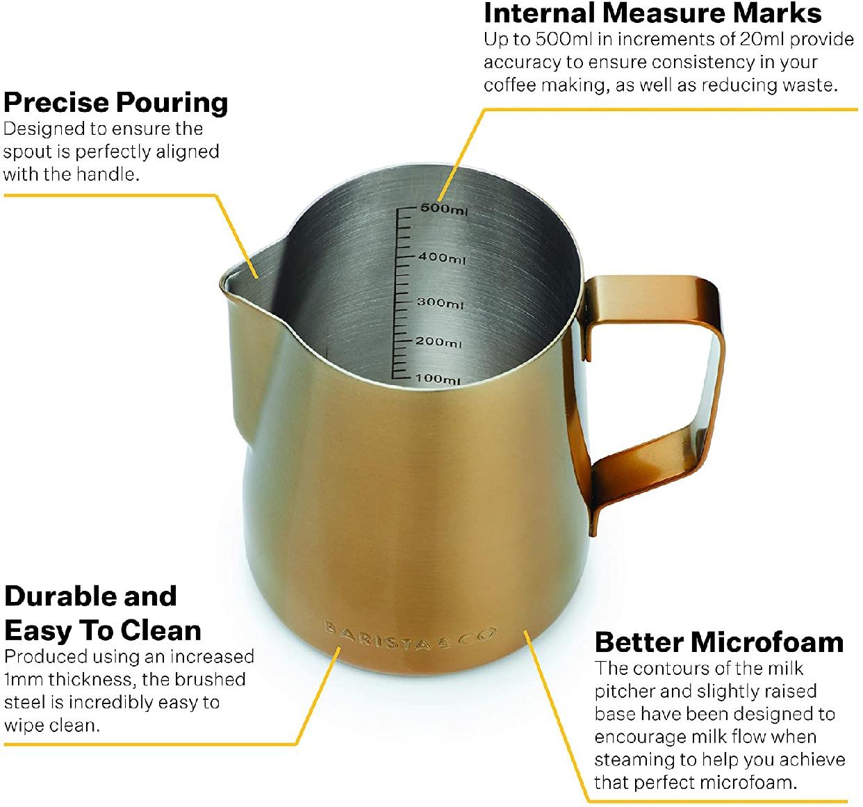 Barista&Co(バリスタアンドコー)Core Milk Jug 600ml Goldの商品画像6