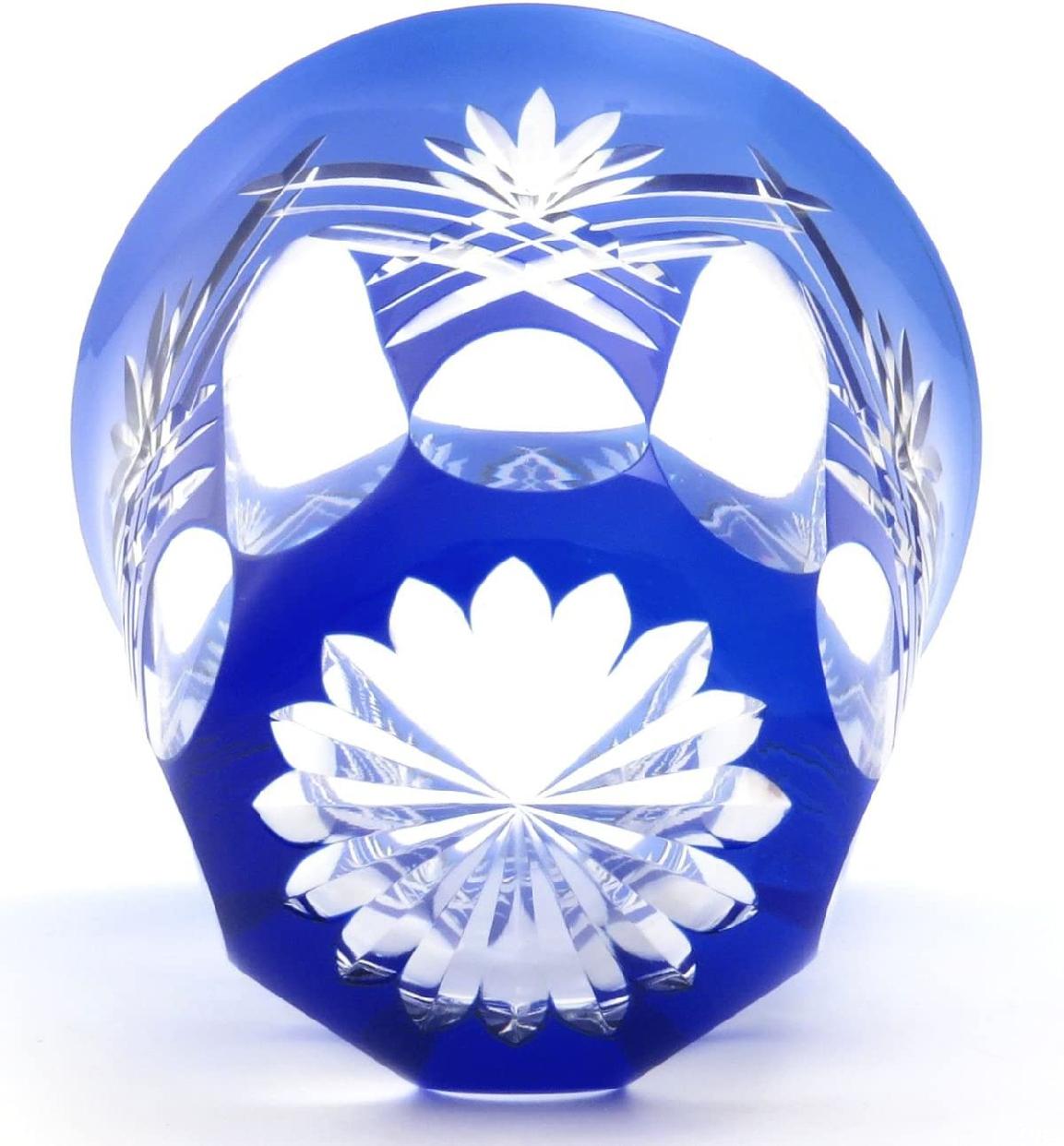 すみだ江戸切子館 焼酎グラス (化粧箱入) 重ね剣矢来 (藍) KY-44の商品画像4