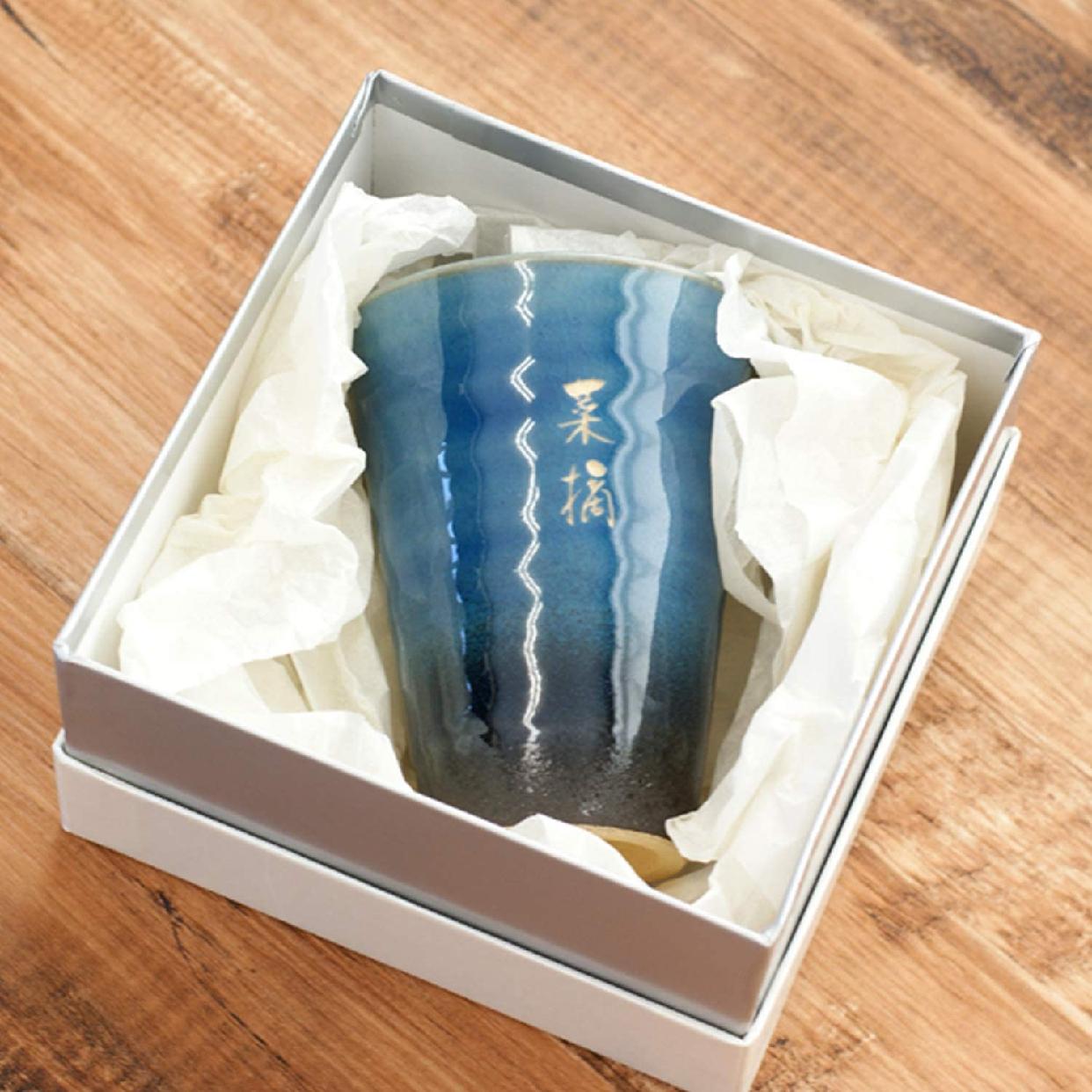 きざむ 名入れ 信楽焼 GemCup(ジェムカップ)  エメラルドグリーンの商品画像5