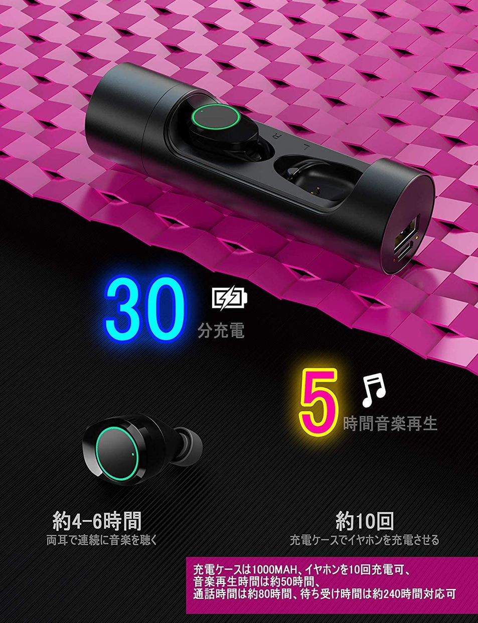 Beyeah(ベイヤー) 金属回転式充電ケース Bluetoothイヤホンの商品画像5