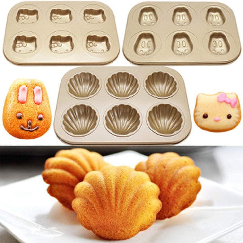 Dream DIY(ドリームディーアイワイ)マドレーヌ型 ケーキ金型 マフィン型 ドーナツ型 6ケ取 お菓子型(3個セットA ブラウンの商品画像5