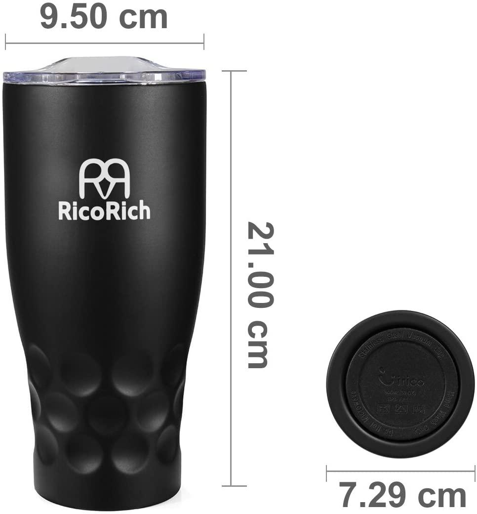 RicoRich(リコリッチ) 真空断熱タンブラー 蓋つき ステンレス 900ml RRWB11-BKの商品画像2
