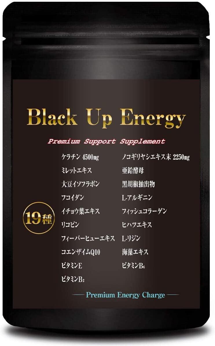 Body Life Change(ボディライフチェンジ) Black Up Energy ノコギリヤシ ケラチン 髪 サプリメント 男性 厳選19素材 30日分