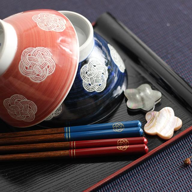 Maturite(マチュリテ) 梅結び 夫婦箸&箸置きセット 赤・青 0059UMB001の商品画像8