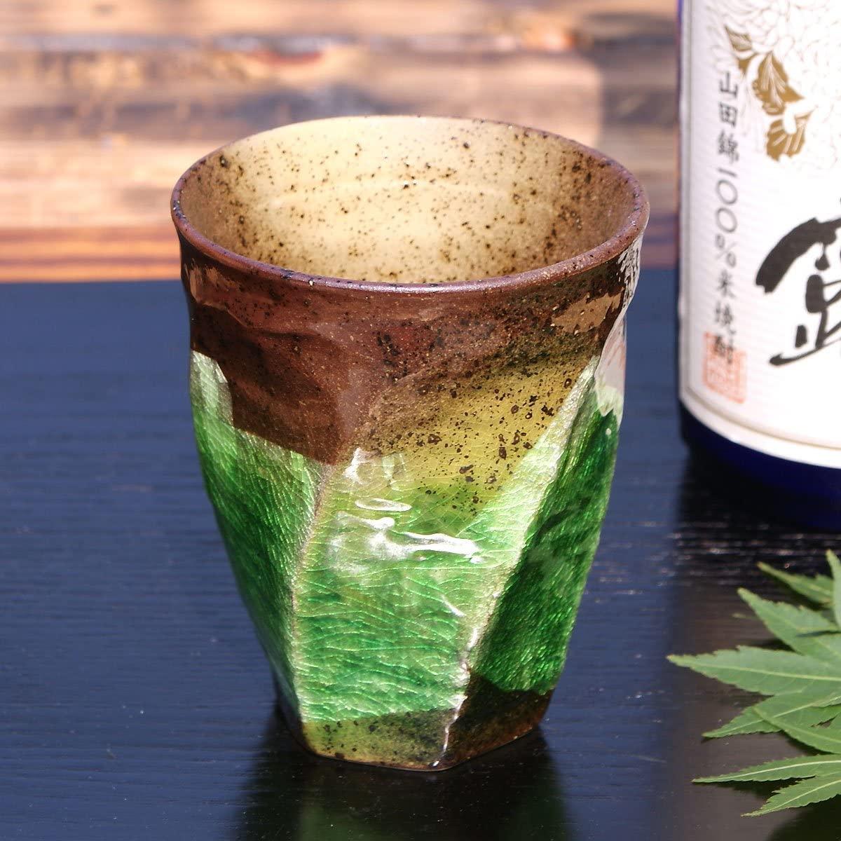 九谷焼 陶器の荒削り 焼酎グラス 銀彩(グリーン)の商品画像