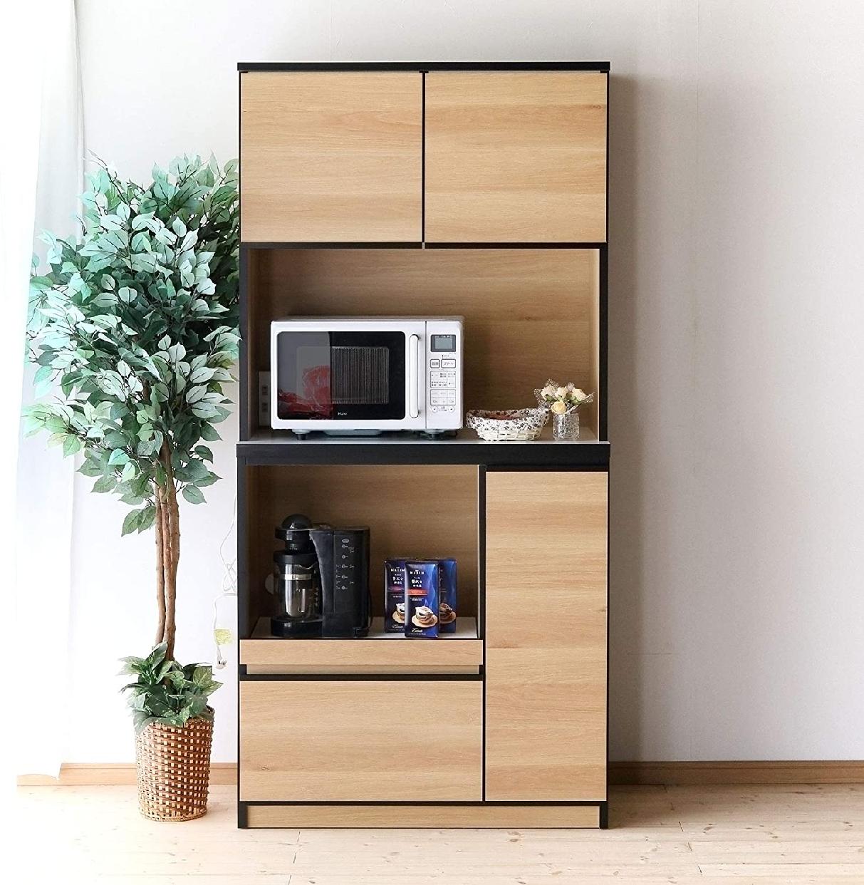 ナポリレンジ台 食器棚コンセント付 完成品 幅88.8cmの商品画像2