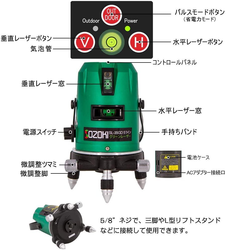 SOZOKI(ソゾキ) 5ライングリーンレーザー墨出し器 SL-35GDの商品画像3