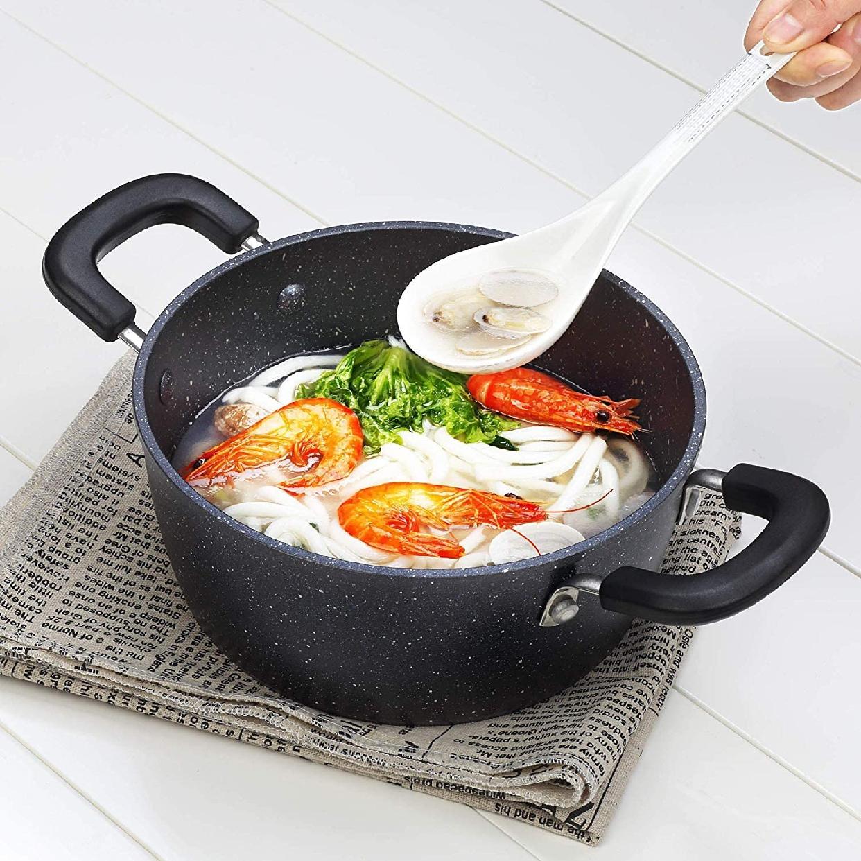 COOKSMARK(クックスマーク) 両手鍋ガラス鍋蓋付 20cm ブラック H-4237の商品画像7