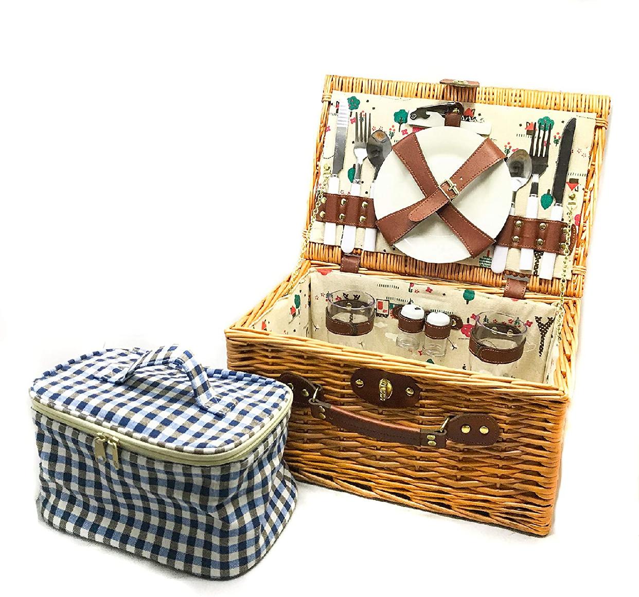 LoaMythos(ロアミトス)All in One Picnic Basket(保温・保冷ができるミニクーラーバッグ付き)ブラウン 1003671の商品画像